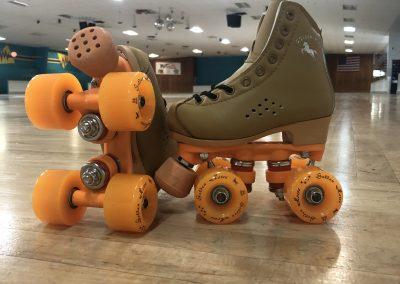 Roller skates on the rink at Haygood Skating Center